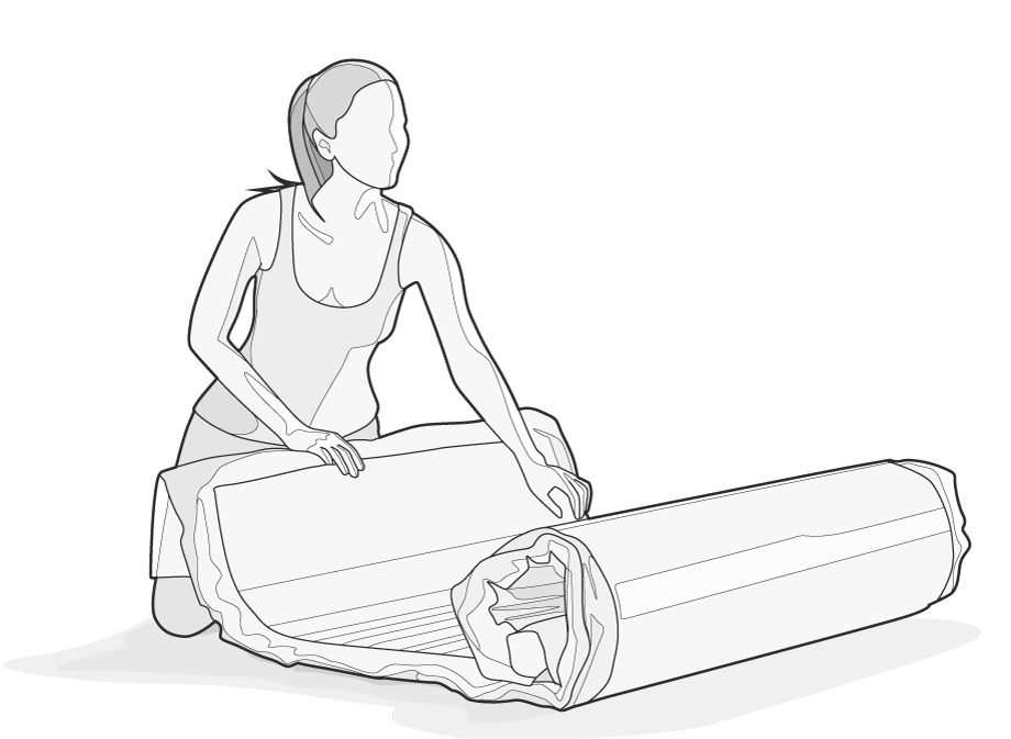 Illustration: A woman unrolls the compressed BODYGUARD Mattress.