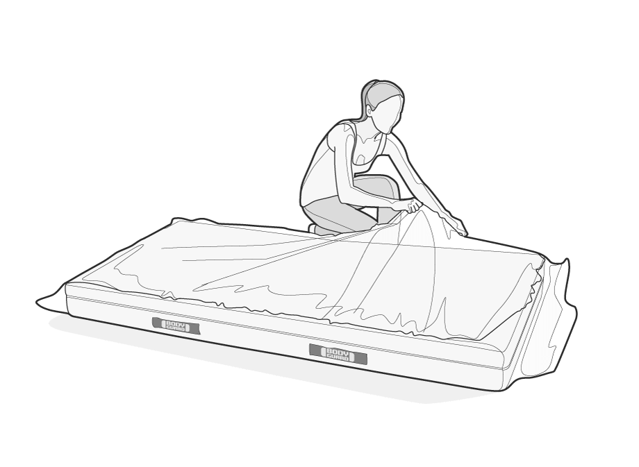 Illustration: A woman discards the packing film from the BODYGUARD Mattress lying in front of her. In the meantime, the mattress unfolds.