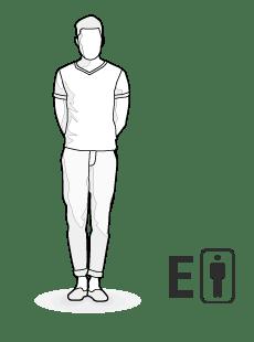 Illustration Körpertyp E: großer, schlanker Mann
