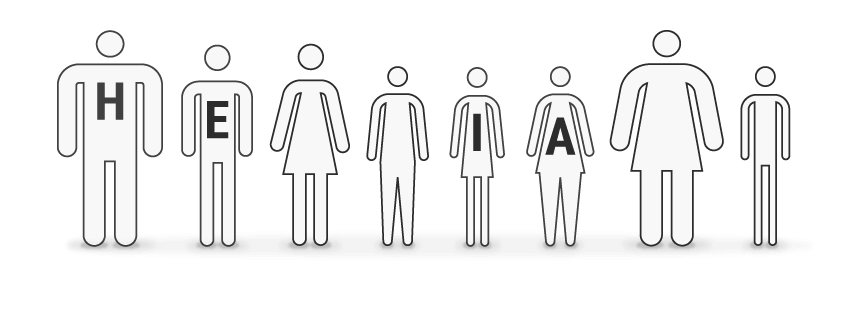 Illustration: Eight stick figures; men and women of differing heights and sizes standing beside one another.