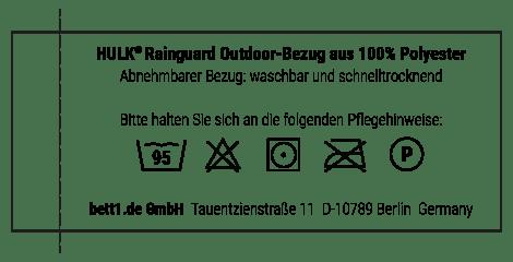 Kurzanleitung zur Pflege des HULK Rainguard Bezugs