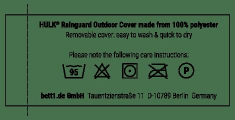 Brief instructions regarding the care of the HULK Rainguard Cover