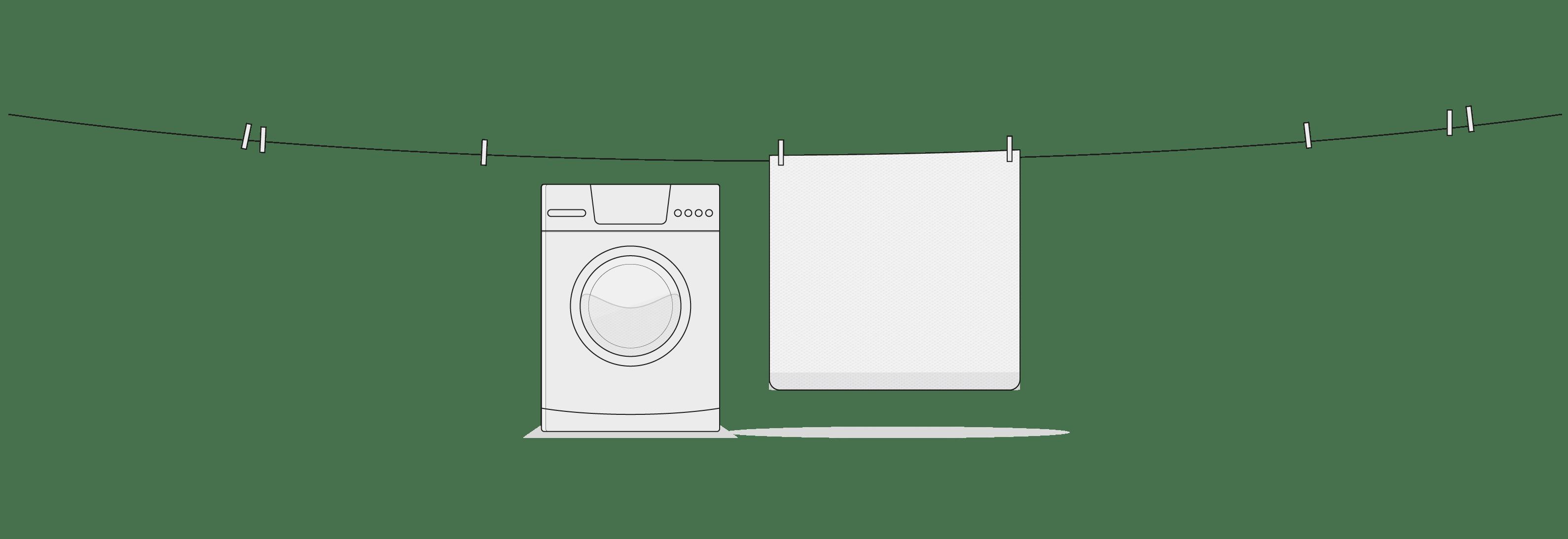 Illustration: Eine Wäscheleine mit einigen Wäscheklammern, an der der HyBreeze Funktionsbezug hängt. Darunter steht eine Waschmaschine.
