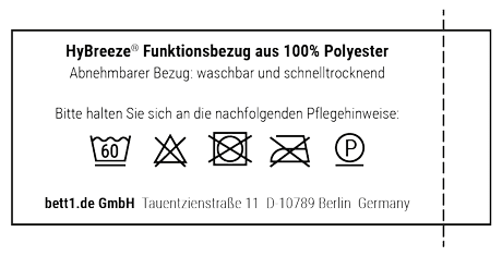 Kurzanleitung zur Pflege des HyBreeze Funktionsbezugs