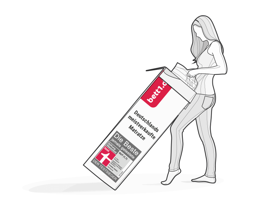Illustration: A woman pulls the compressed BODYGUARD Mattress out of the box.